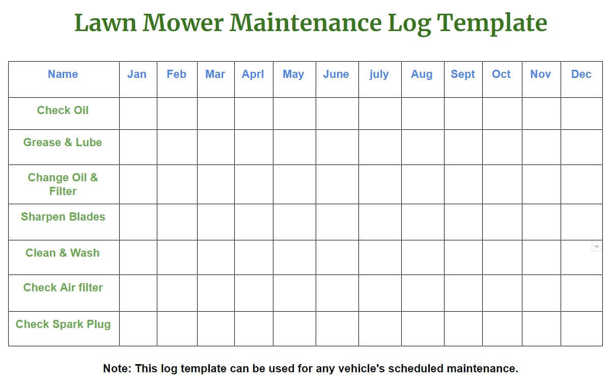 Lawn Mower Maintenance Log Template