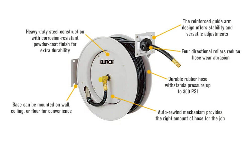 Klutch Auto Rewind Air Hose Reel Specifications